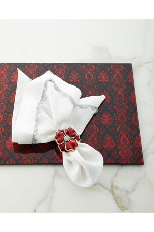 Nomi K Scalloped Taping Napkin Lace Glass Painted Mirror Placemat, Red/Black