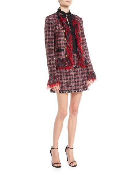 Open-Front Tweed Fringe Blazer