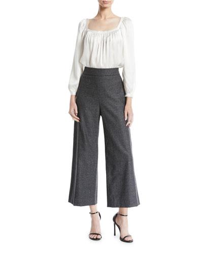 Cropped Herringbone Wide-Leg Pants and Matching Items