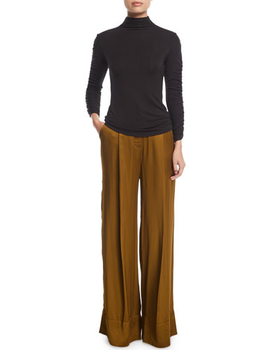 Mock-Neck Long-Sleeve Ruched Knit Top and Matching Items