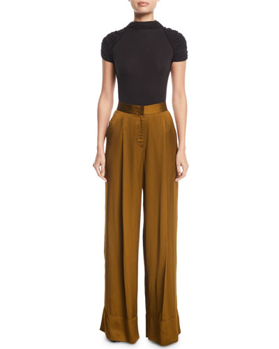 High-Waist Wide-Leg Satin Pants  and Matching Items