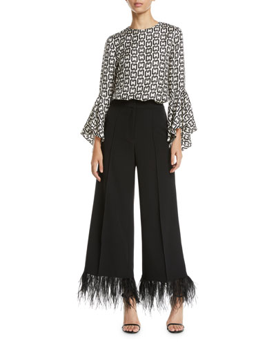 Holly Bell-Sleeve Chain-Print Twill Top and Matching Items