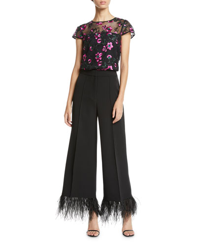 Cap-Sleeve Floral-Embroidered Tulle Tee and Matching Items