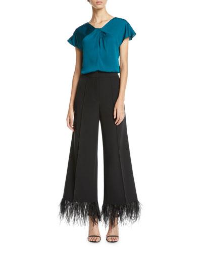 Tatiana Twist-Neck Cap-Sleeve Stretch-Silk Top and Matching Items