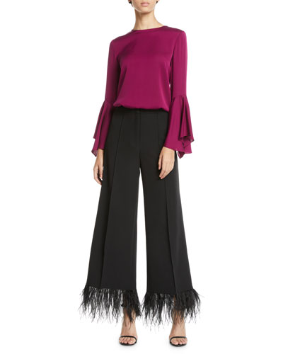 Holly Jewel-Neck Flared-Sleeves Stretch-Silk Top and Matching Items