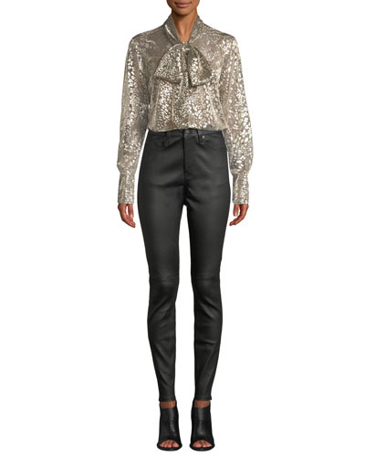 Luis Tie-Neck Long-Sleeve Metallic Leopard Burnout Blouse and Matching Items