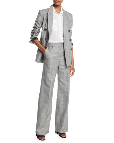 Hamish Double-Breasted Check Blazer w/ Contrast Lining and Matching Items