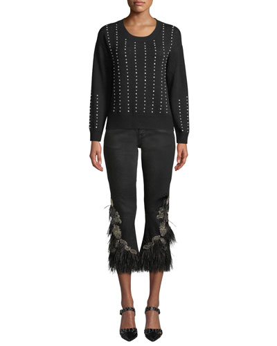 Raye Crewneck Beaded Pullover Sweater and Matching Items