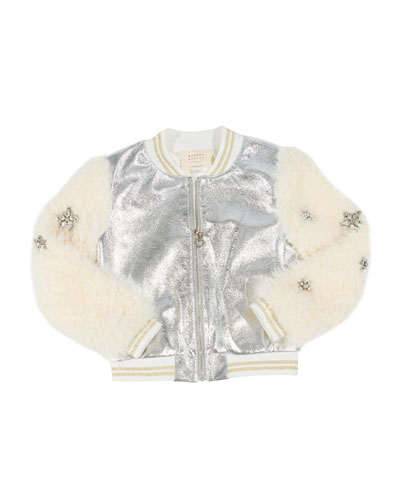 Metallic Faux Leather Bomber Jacket w/ Faux Fur Sleeves, Size 4-6X  and Matching Items