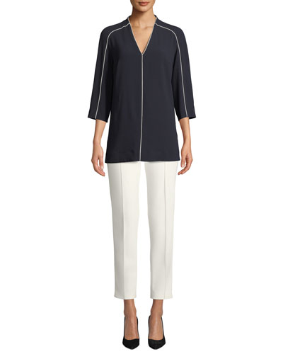 V-Neck 3/4 Sleeve Crepe Blouse w/ Contrast Piping and Matching Items