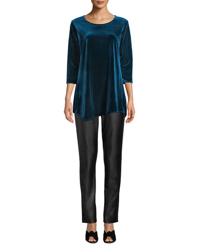 Round-Neck 3/4-Sleeve Stretch-Velvet Angled Top and Matching Items