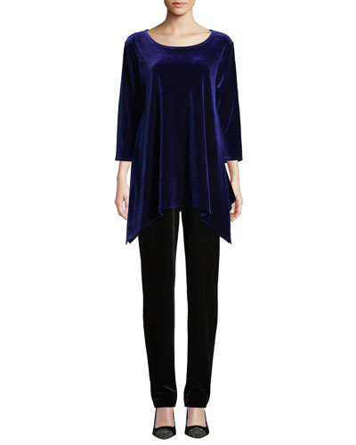3/4-Sleeve Stretch Velvet Swing Tunic  and Matching Items