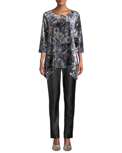 Round-Neck Foggy Floral-Print Stretch-Velvet Swing Tunic and Matching Items