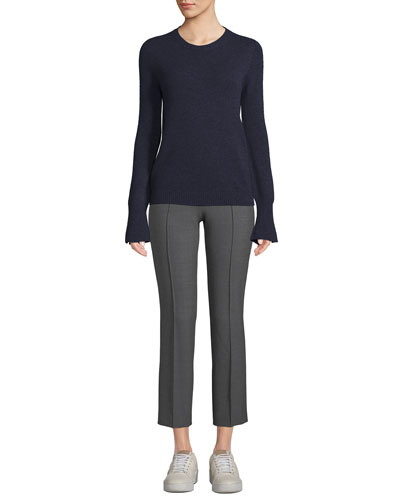 Crewneck Trumpet-Cuffs Cashmere Pullover Sweater and Matching Items