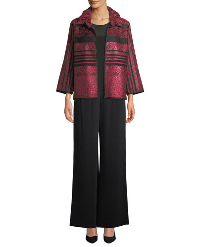 Sheer Striped Ruched-Collar Jacket, Plus Size and Matching Items