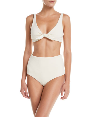 Lydia High-Waist Solid-Color Eco-Fabric Bikini Bottoms and Matching Items