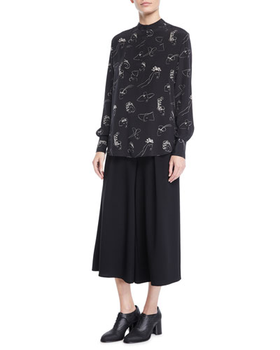 Face-Print Long-Sleeve Split-Back Silk Tunic Blouse and Matching Items