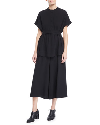 Cap-Sleeve Button-Placket Heavy Crepe Blouse w/ Self Belt and Matching Items