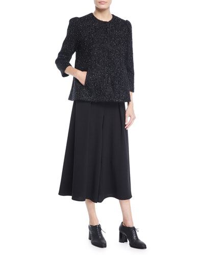 Collarless 3/4-Sleeve Metallic-Tweed Jacket  and Matching Items