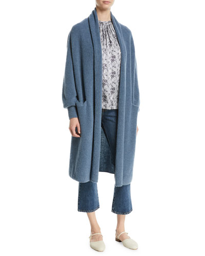 Open-Front Boucle-Knit Long Wool-Blend Cardigan and Matching Items