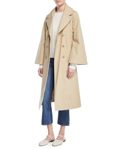 Double-Breasted Portrait-Collar Belted Cotton Trench Coat and Matching Items