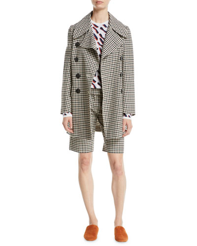 Double-Breasted Gingham Pea Coat  and Matching Items