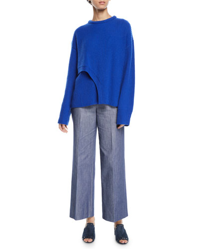 Crisscross Crewneck Ribbed Cashmere Sweater and Matching Items