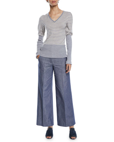 V-Neck Puff-Sleeve Striped Wool Sweater w/ Ribbed Combo and Matching Items