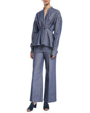 Derek Lam Long-Sleeve Denim Shirt Wide-Leg Denim Culotte Pants 8c04cdb63