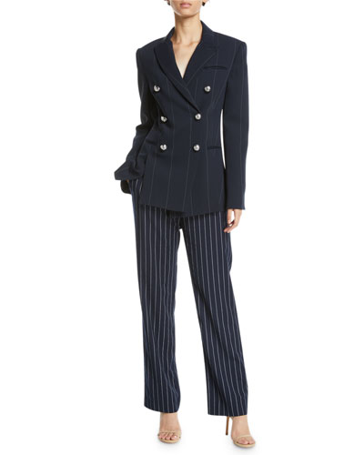 Apollo Double-Breasted Pinstripe Blazer Jacket and Matching Items