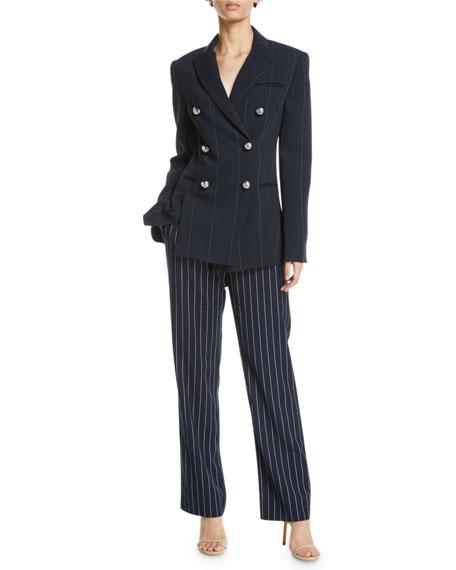 Apollo Double-Breasted Pinstripe Blazer Jacket