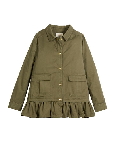ruffle-hem twill field jacket, size 2-6x and Matching Items