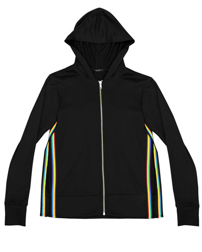 Zip-Up Hooded Jacket w/ Rainbow Tape Trim, Size 7-16  and Matching Items