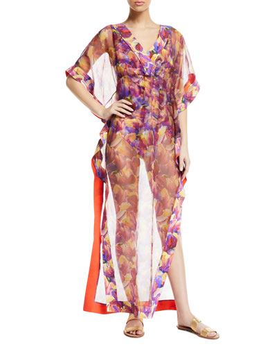 Naia Floral-Print Organza Long Coverup Kaftan and Matching Items