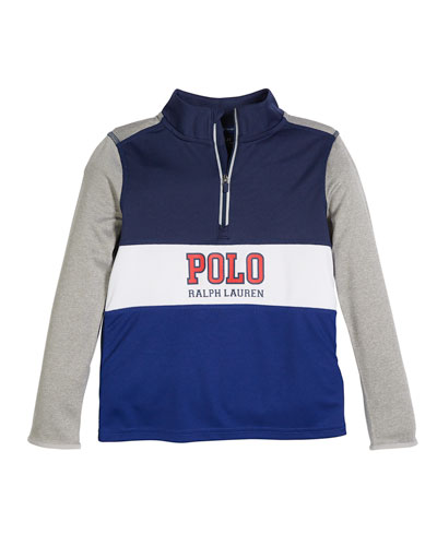 Colorblock Logo Half-Zip Knit Top, Size 2-4  and Matching Items