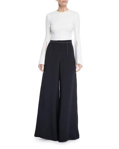 Flare-Sleeve Liquid Cady Crop Top and Matching Items