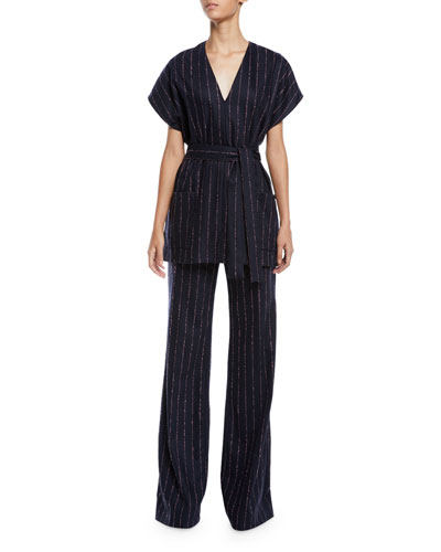 V-Neck Cap-Sleeve Pinstripe Top and Matching Items