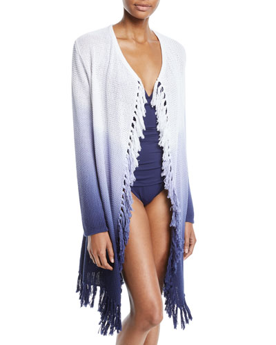 Open-Front Tie-Dye Tassel Coverup Sweater and Matching Items
