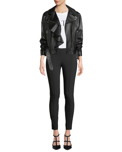 Napa Plonge Ruffle-Detail Leather Jacket w/ Love Story Heart on Sleeve and Matching Items