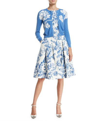Floral-Embroidered Button-Front Wool Cardigan  and Matching Items