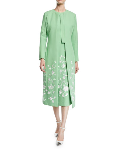 Floral-Embroidered Hook-Front Calf-Length Stretch-Wool Coat and Matching Items