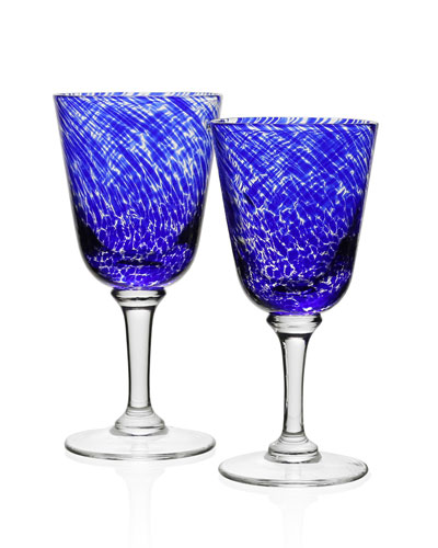 Vanessa Glass Water Goblet, Blue and Matching Items
