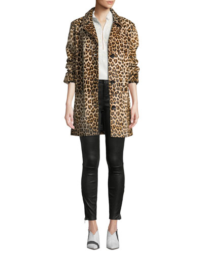 Ines Two-Button Leopard-Print Shearling Coat  and Matching Items