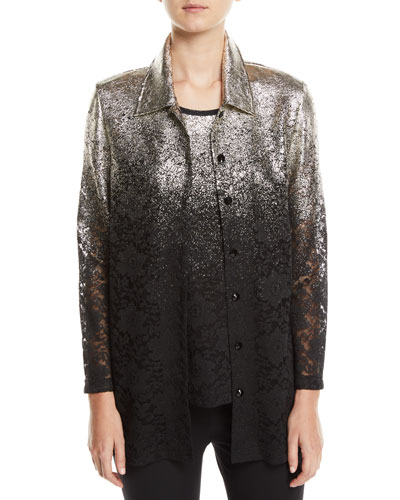 Speckle-Border Easy Shirt Jacket with Lace and Matching Items