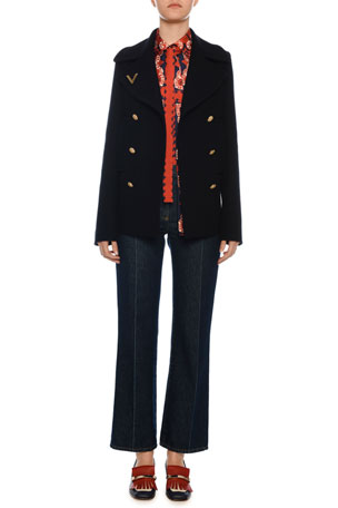 Valentino Double-Breasted Wool Pea Coat Patch Pocket V-Hardware Ankle Jeans