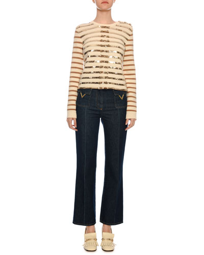 Long-Sleeve Paillette-Ribbon Embroidered Cashmere Sweater and Matching Items