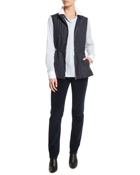 Edison Zip-Front Outerwear Vest w/ Flannel Back