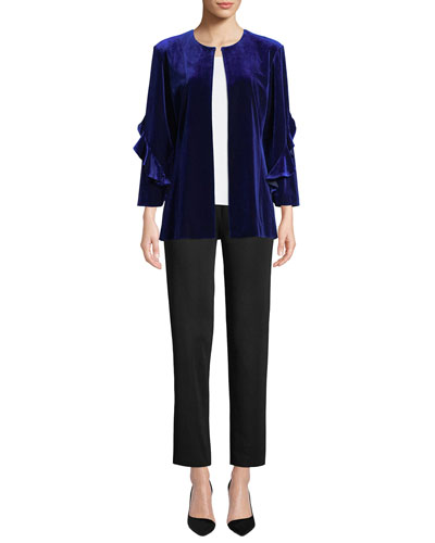 Ruffle-Sleeve Velvet Jacket  and Matching Items