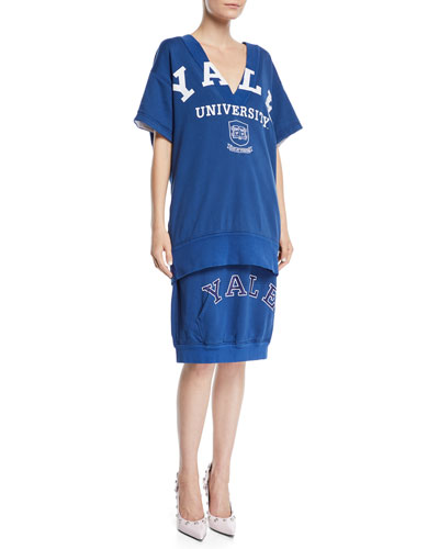 Yale University V-Neck Short-Sleeve Cotton Terry Top and Matching Items