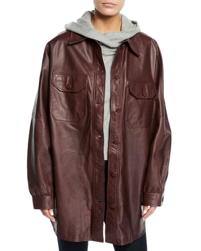 Mercier Button-Front Long-Sleeve Leather Jacket and Matching Items